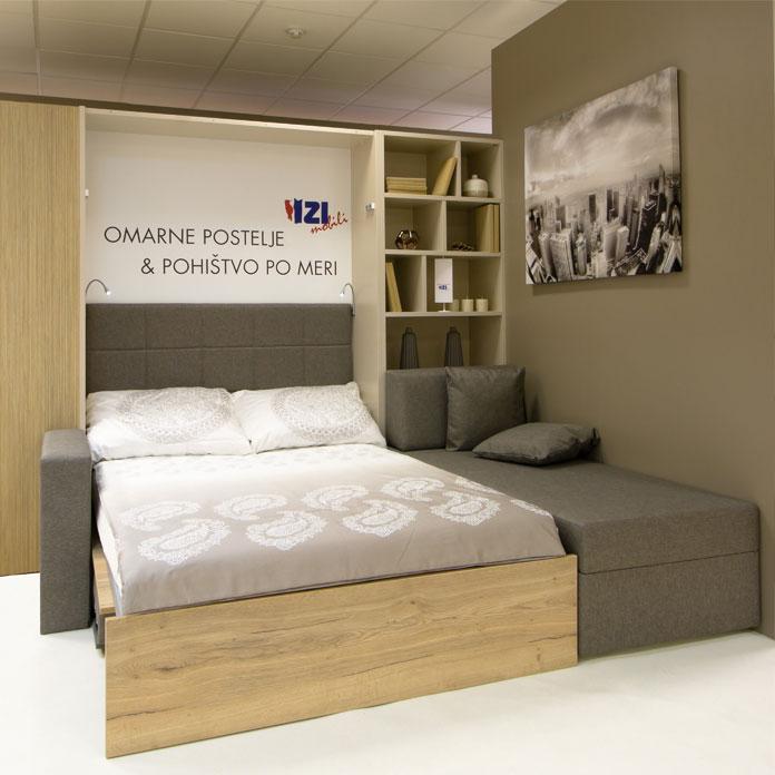 skrita, dvižna ali omarna postelja z ležiščem širine 160 cm