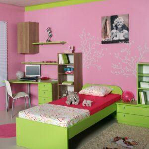 Mladinska soba roza zelena monroe
